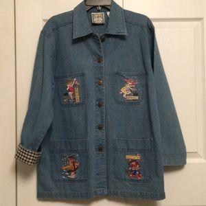 Mary Engelbreit Blue Jean Denim Coat Jacket Large